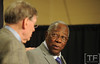 Oct 27, 2012; Detroit, MI, USA; MLB former player Hank Aaron (right) greets commissioner Bud Selig (left) at a press conference before game three of the 2012 World Series between the Detroit Tigers and the San Francisco Giants at Comerica Park.  Mandatory Credit: Tim Fuller-USA TODAY Sports
