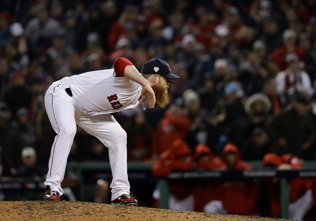. Boston Red Sox\'s Craig Kimbrel throws during the ninth inning of Game 1 of the World Series baseball game against the Los Angeles Dodgers Tuesday, Oct. 23, 2018, in Boston. (AP Photo/Matt Slocum)