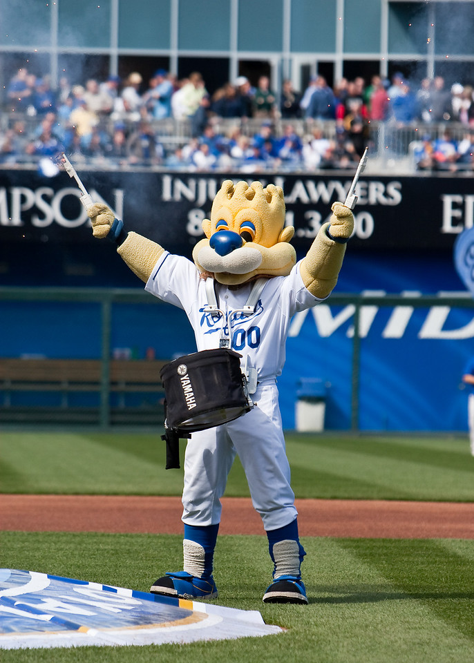 10 April 2009: Kansas City Royals mascot Slugger performs during pre-game festivities at the Royals home opener.  The New York Yankees defeated the Kansas City Royals 4-1 at Kauffman Stadium in Kansas City, Missouri.