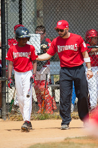 Coach talking to Alex before his bat in the bottom of the 5th inning. The Nationals played a close and exciting game against the Cubs before being outscored in the 6th inning, losing 8-9. They are now 2-1 for the season. 2012 Arlington Little League Baseball, Majors Division. Nationals vs Cubs (21 Apr 2012) (Image taken by Patrick R. Kane on 21 Apr 2012 with Canon EOS-1D Mark III at ISO 200, f2.8, 1/3200 sec and 300mm)