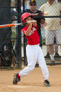 Isaiah hits to 2nd and safely gets to 1st base on an error in the top of the 5th inning. The Nationals started out their season with a 4-1 win over the Pirates. 2012 Arlington Little League Baseball, Majors Division. Nationals vs Pirates (14 Apr 2012) (Image taken by Patrick R. Kane on 14 Apr 2012 with Canon EOS-1D Mark III at ISO 200, f2.8, 1/1250 sec and 200mm)
