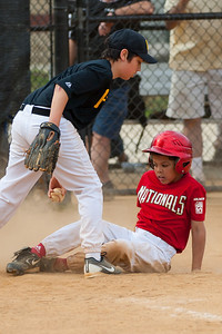 Isaiah steals home on a passed ball to extend the Nationals lead to 4-1 in the top of the 5th inning. The Nationals started out their season with a 4-1 win over the Pirates. 2012 Arlington Little League Baseball, Majors Division. Nationals vs Pirates (14 Apr 2012) (Image taken by Patrick R. Kane on 14 Apr 2012 with Canon EOS-1D Mark III at ISO 200, f2.8, 1/1600 sec and 155mm)