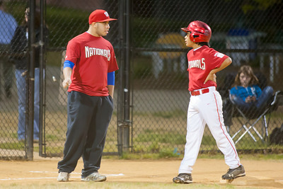 Alex steals 3rd base on a passed ball in the bottom of the 3rd inning. The Nationals won their second game in a row to start the season with an 11-0 victory over the Twins. 2012 Arlington Little League Baseball, Majors Division. Nationals vs Twins (19 Apr 2012) (Image taken by Patrick R. Kane on 19 Apr 2012 with Canon EOS-1D Mark III at ISO 3200, f2.8, 1/100 sec and 300mm)