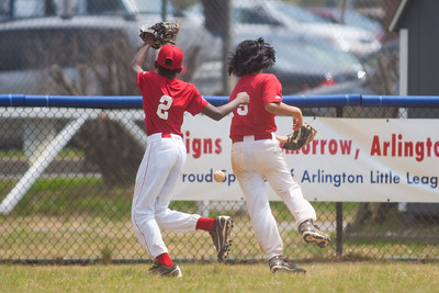 Alex and Alex chasing a deep hit to center field in the top of the 6th inning. The Nationals played a close and exciting game against the Cubs before being outscored in the 6th inning, losing 8-9. They are now 2-1 for the season. 2012 Arlington Little League Baseball, Majors Division. Nationals vs Cubs (21 Apr 2012) (Image taken by Patrick R. Kane on 21 Apr 2012 with Canon EOS-1D Mark III at ISO 200, f2.8, 1/2500 sec and 300mm)