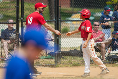 Coach congratulating Alex on his earlier RBI double in the bottom of the 5th inning. The Nationals played a close and exciting game against the Cubs before being outscored in the 6th inning, losing 8-9. They are now 2-1 for the season. 2012 Arlington Little League Baseball, Majors Division. Nationals vs Cubs (21 Apr 2012) (Image taken by Patrick R. Kane on 21 Apr 2012 with Canon EOS-1D Mark III at ISO 200, f2.8, 1/4000 sec and 300mm)