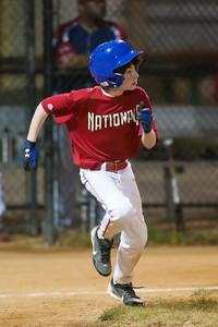 Sam hits a RBI single to extend the Nat's lead to 6-0 in the bottom of the 3rd inning. The Nationals won their second game in a row to start the season with an 11-0 victory over the Twins. 2012 Arlington Little League Baseball, Majors Division. Nationals vs Twins (19 Apr 2012) (Image taken by Patrick R. Kane on 19 Apr 2012 with Canon EOS-1D Mark III at ISO 3200, f2.8, 1/250 sec and 300mm)