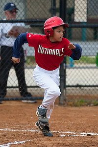 Isaiah hits a two RBI single, which becomes a run due to errors by the defense in the top of the 2nd inning. Nats lead 3-0. The Nationals almost blew a big lead, but managed to hold off the Brewers to win 9-7. They are now 3-2 for the season. 2012 Arlington Little League Baseball, Majors Division. Nationals vs Brewers (26 Apr 2012) (Image taken by Patrick R. Kane on 26 Apr 2012 with Canon EOS-1D Mark III at ISO 800, f2.8, 1/3200 sec and 200mm)
