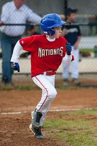 Sam hits into a fielder's choice for a force out at 2nd base in the top of the 2nd inning. The Nationals almost blew a big lead, but managed to hold off the Brewers to win 9-7. They are now 3-2 for the season. 2012 Arlington Little League Baseball, Majors Division. Nationals vs Brewers (26 Apr 2012) (Image taken by Patrick R. Kane on 26 Apr 2012 with Canon EOS-1D Mark III at ISO 800, f2.8, 1/2500 sec and 200mm)