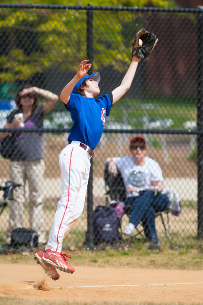The throw from the short stop is too far off the base allowing Christopher to advance to 3rd base in the bottom of the 3rd inning. The Nationals played a close and exciting game against the Cubs before being outscored in the 6th inning, losing 8-9. They are now 2-1 for the season. 2012 Arlington Little League Baseball, Majors Division. Nationals vs Cubs (21 Apr 2012) (Image taken by Patrick R. Kane on 21 Apr 2012 with Canon EOS-1D Mark III at ISO 200, f2.8, 1/4000 sec and 300mm)