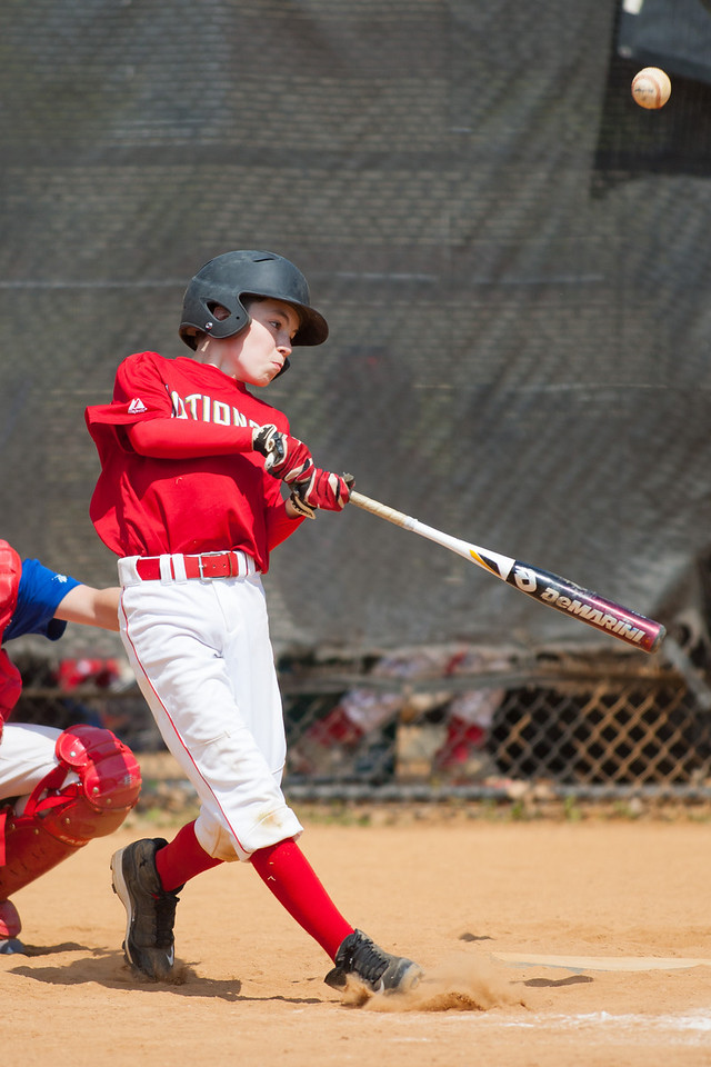 Mac at bat in the bottom of the 3rd inning. The Nationals played a close and exciting game against the Cubs before being outscored in the 6th inning, losing 8-9. They are now 2-1 for the season. 2012 Arlington Little League Baseball, Majors Division. Nationals vs Cubs (21 Apr 2012) (Image taken by Patrick R. Kane on 21 Apr 2012 with Canon EOS-1D Mark III at ISO 200, f2.8, 1/4000 sec and 300mm)