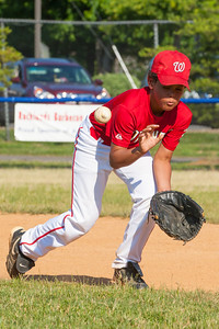 Isaiah warming up before the game. The Nationals played a close game against the Orioles before pulling away in the top of the 6th inning for a 5-2 win. They finished the regular season with a 12-6 record. 2012 Arlington Little League Baseball, Majors Division. Nationals vs Orioles (09 Jun 2012) (Image taken by Patrick R. Kane on 09 Jun 2012 with Canon EOS-1D Mark III at ISO 800, f11.0, 1/1000 sec and 205mm)