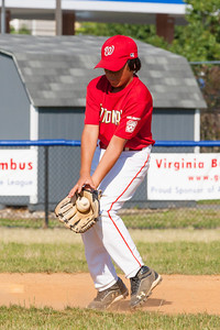 Alex warming up before the game. The Nationals played a close game against the Orioles before pulling away in the top of the 6th inning for a 5-2 win. They finished the regular season with a 12-6 record. 2012 Arlington Little League Baseball, Majors Division. Nationals vs Orioles (09 Jun 2012) (Image taken by Patrick R. Kane on 09 Jun 2012 with Canon EOS-1D Mark III at ISO 800, f11.0, 1/1000 sec and 222mm)