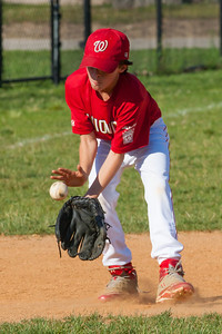 Luke warming up before the game. The Nationals played a close game against the Orioles before pulling away in the top of the 6th inning for a 5-2 win. They finished the regular season with a 12-6 record. 2012 Arlington Little League Baseball, Majors Division. Nationals vs Orioles (09 Jun 2012) (Image taken by Patrick R. Kane on 09 Jun 2012 with Canon EOS-1D Mark III at ISO 800, f11.0, 1/1250 sec and 260mm)