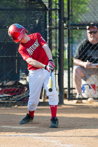 Christopher hits into the infield and is thrown out at 1st base in the top of the 1st inning. The Nationals played a close game against the Orioles before pulling away in the top of the 6th inning for a 5-2 win. They finished the regular season with a 12-6 record. 2012 Arlington Little League Baseball, Majors Division. Nationals vs Orioles (09 Jun 2012) (Image taken by Patrick R. Kane on 09 Jun 2012 with Canon EOS-1D Mark III at ISO 400, f4.0, 1/800 sec and 280mm)