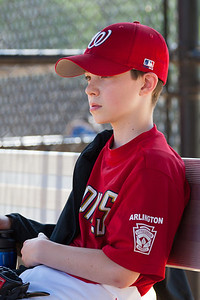 Mac on the bench before the game. The Nationals struggled on both offense and defense in a 2-11 loss to the Orioles. They are now 7-4 for the season. 2012 Arlington Little League Baseball, Majors Division. Nationals vs Orioles (19 May 2012) (Image taken by Patrick R. Kane on 19 May 2012 with Canon EOS-1D Mark III at ISO 400, f4.0, 1/500 sec and 180mm)