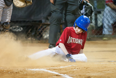 Sam scores on Mac's RBI single up the middle in the bottom of the 2nd inning. The Nationals won their second game in a row to start the season with an 11-0 victory over the Twins. 2012 Arlington Little League Baseball, Majors Division. Nationals vs Twins (19 Apr 2012) (Image taken by Patrick R. Kane on 19 Apr 2012 with Canon EOS-1D Mark III at ISO 3200, f2.8, 1/320 sec and 300mm)