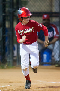 Christopher reaches base on a fielding error in the bottom of the 2nd inning. The Nationals won their second game in a row to start the season with an 11-0 victory over the Twins. 2012 Arlington Little League Baseball, Majors Division. Nationals vs Twins (19 Apr 2012) (Image taken by Patrick R. Kane on 19 Apr 2012 with Canon EOS-1D Mark III at ISO 3200, f2.8, 1/320 sec and 300mm)