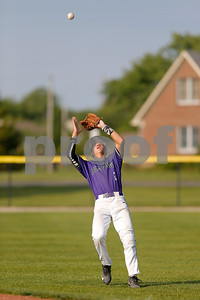 Brownsburg high school second baseman Kerrington Cross  (2) camps under the pop fly and makes the catch for the out during the game between Zionsville vs Brownsburg at Brownsburg High School in Brownsburg,IN. (Jeff Brown/Flyer Photo)