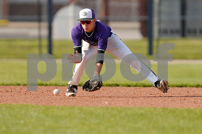 Brownsburg high school shortstop Luis Escalante  (13) scoops up the ground ball and completes the play for the out during the game between Zionsville vs Brownsburg at Brownsburg High School in Brownsburg,IN. (Jeff Brown/Flyer Photo)