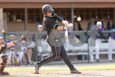 Zionsville high school third baseman Chad Garisek (3) connects for a triple and drives in a run during the game between Zionsville vs Brownsburg at Brownsburg High School in Brownsburg,IN. (Jeff Brown/Flyer Photo)