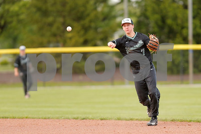 Zionsville high school second baseman Michael Rocco (7) with the throw to first for the out during the game between Zionsville vs Brownsburg at Brownsburg High School in Brownsburg,IN. (Jeff Brown/Flyer Photo)