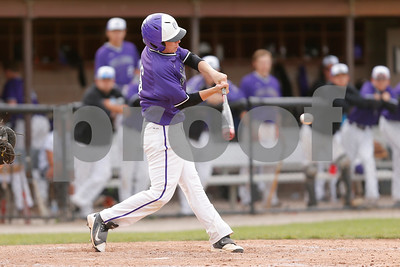 Brownsburg high school outfielder Sam Hughes  (16) connects for a single during the game between Zionsville vs Brownsburg at Brownsburg High School in Brownsburg,IN. (Jeff Brown/Flyer Photo)