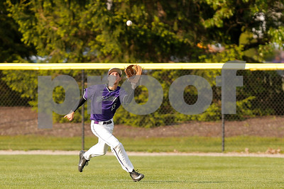 Brownsburg high school outfielder Cameron Martin  (15) hauls in the fly ball for the out during the game between Zionsville vs Brownsburg at Brownsburg High School in Brownsburg,IN. (Jeff Brown/Flyer Photo)