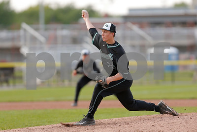Zionsville high school pitcher Max Bohrer (23) brings the pitch to the plate in relief during the game between Zionsville vs Brownsburg at Brownsburg High School in Brownsburg,IN. (Jeff Brown/Flyer Photo)