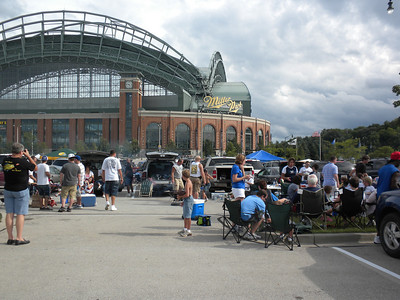 Tailgating outside Miller Park, home of the Milwaukee Brewers, July 2010