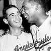 Sandy Koufax and John Roseboro after the first win of the season