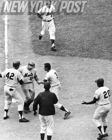 Mets Meet Jerry Grote after Home Run. 1969