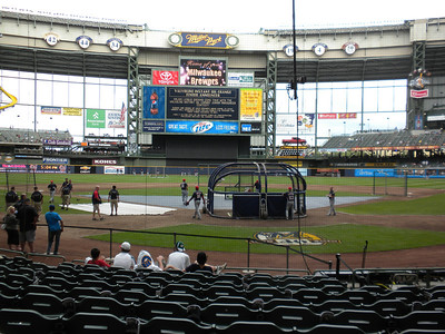 Batting practice at Miller Park, home of the Milwaukee Brewers, July 2010