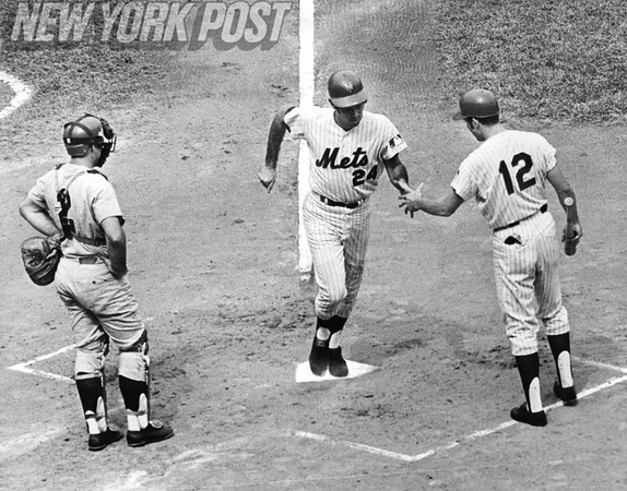 Art Shamsky is congratulated after hitting a home run for the Mets. 1969