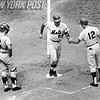 Art Shamsky is congratulated after hitting a home run for the Mets