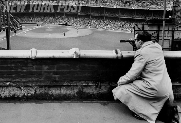 Famous Reporter Wambly Bald Atop a Bronx Rooftop watching Game 6 of World Series. 1951