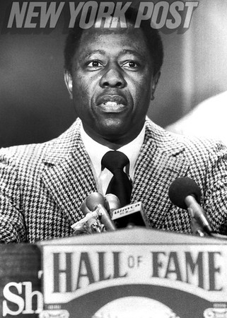 "Henry ""Hank"" Aaron getting inducted into the Baseball Hall of Fame in 1982"