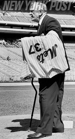 Mets Manager Casey Stengel at Shea Stadium days after retiring. 1965