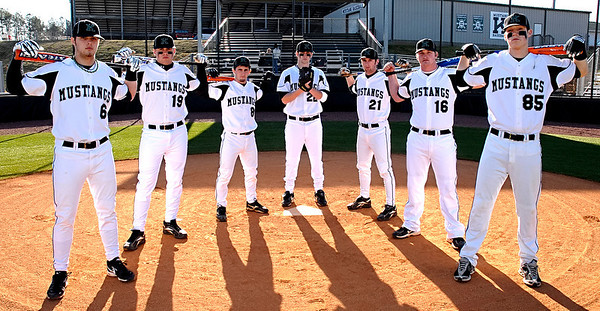 From left, Kennesaw Mountain's baseball players Jordan Craft (6), Michael Lauer (19), Michael Lonati (8), Pete Whittingslow (22), Ethan Herron (21) John Harris (16) and Charlie Boring (85).