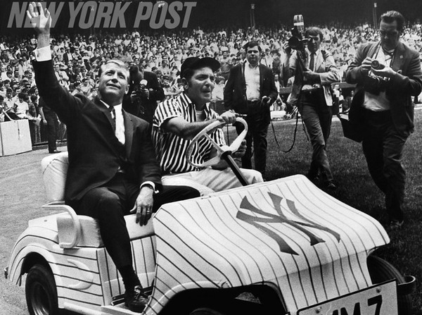 Yankees Mickey Mantle during his number retirement ceremony at Yankee Stadium. 1969