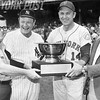 Gil Hodges, Ralph Houk, Maury Allen, and Red Foley Holding Schenley Trophy.