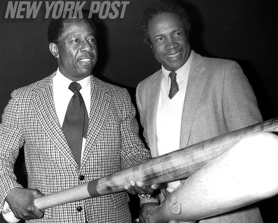"Henry ""Hank"" Aaron and Frank Robinson inducted into Hall of Fame. 1982"