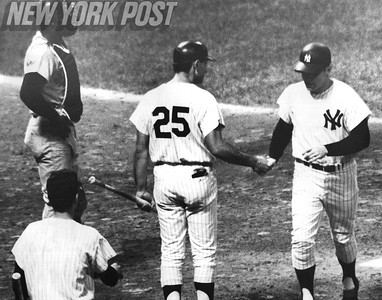 Mickey Mantle after hitting Home Run No. 508. 1967