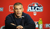 Oct 17, 2012; Detroit, MI, USA; New York Yankees manager Joe Girardi speaks at a press conference before game four of the 2012 ALCS against the Detroit Tigers  at Comerica Park.   Mandatory Credit: Tim Fuller-USA TODAY Sports