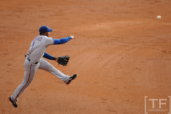 Oct 13, 2011; Detroit, MI, USA; Texas Rangers shortstop Elvis Andrus (1) makes a throw to first base in the third inning of game five of the 2011 ALCS against the Detroit Tigers at Comerica Park.  Mandatory Credit: Tim Fuller-US PRESSWIRE