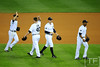 Oct 13, 2011; Detroit, MI, USA; Detroit Tigers congratulate relief pitcher Phil Coke (40) after they defeated the Texas Rangers in game five of the 2011 ALCS at Comerica Park.  Mandatory Credit: Tim Fuller-US PRESSWIRE