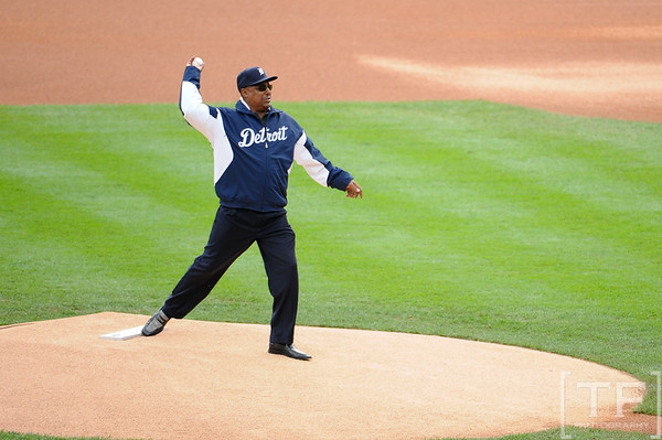 Oct 13, 2011; Detroit, MI, USA; Detroit Tigers former player Lou Whitaker throws out the ceremonial first pitch prior to game five of the 2011 ALCS against the Texas Rangers at Comerica Park. Mandatory Credit: Tim Fuller-US   Mandatory Credit: Tim Fuller-US PRESSWIRE