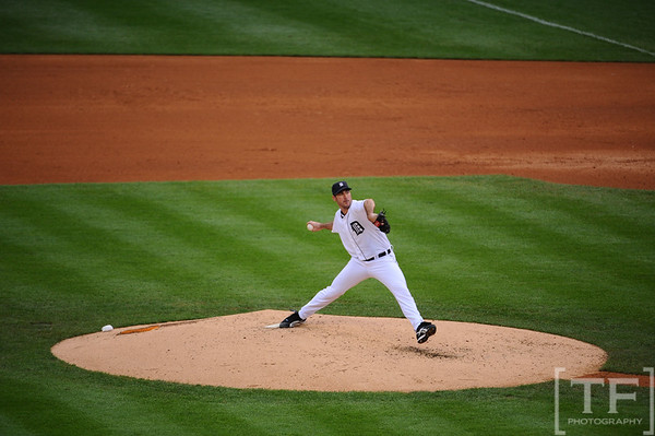 Oct 13, 2011; Detroit, MI, USA; Detroit Tigers starting pitcher Justin Verlander (35) in the fifth inning of game five of the 2011 ALCS against the Texas Rangers at Comerica Park.  Mandatory Credit: Tim Fuller-US PRESSWIRE