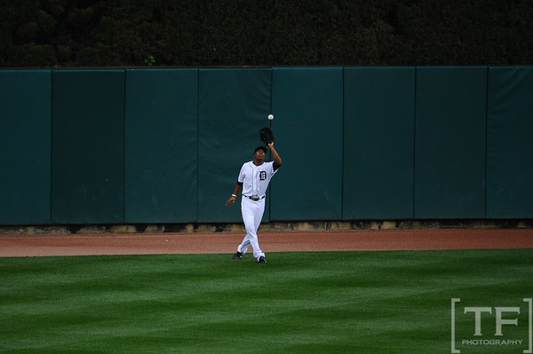 Oct 13, 2011; Detroit, MI, USA; Detroit Tigers center fielder Austin Jackson (14) makes an out in the fifth inning of game five of the 2011 ALCS against the Texas Rangers at Comerica Park.  Mandatory Credit: Tim Fuller-US PRESSWIRE