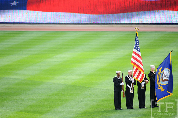 Oct 13, 2011; Detroit, MI, USA; The National Anthem is sung prior to the game between the Detroit Tigers and the Texas Rangers in game five of the 2011 ALCS at Comerica Park.  Mandatory Credit: Tim Fuller-US PRESSWIRE