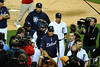 Oct 13, 2011; Detroit, MI, USA; Detroit Tigers manager Jim Leyland (center) and catcher Alex Avila (13) make their thought the media after defeating the Texas Rangers in game five of the 2011 ALCS at Comerica Park.  Mandatory Credit: Tim Fuller-US PRESSWIRE